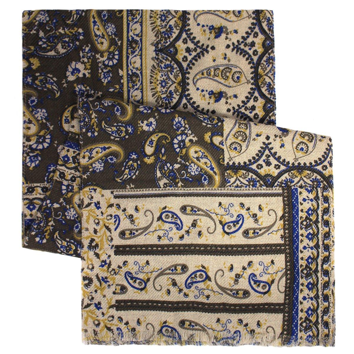 Mens Wool Knit Paisley Scarf Bloomingdales MA.AL.BI Brown