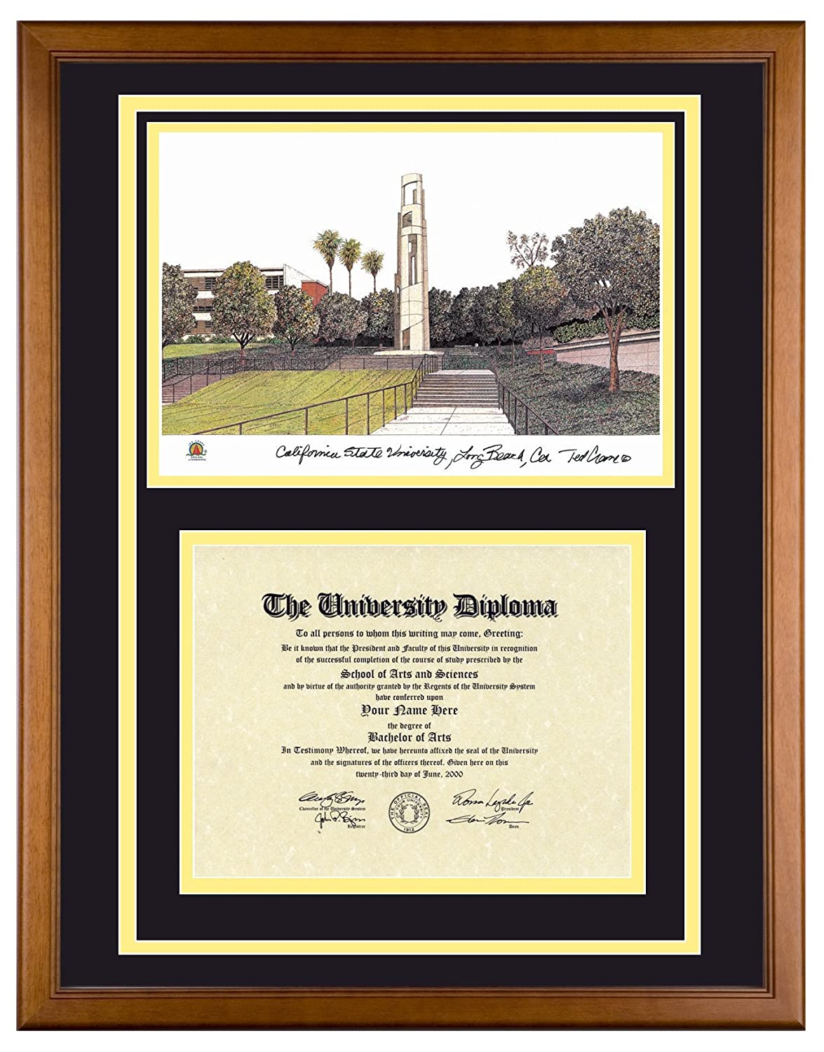 Amazon.com: CAL STATE LONG BEACH Diploma Frame with Artwork in Standard Black Frame: Posters & Prints