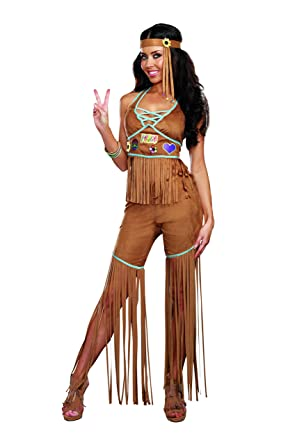 Amazon Dreamgirl Womens Peace Out 60s 70s Hippie Costume Clothing