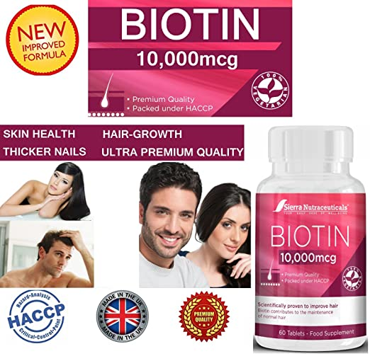 8 opinioni per Biotin 10,000 MCG- For Hair Growth, Improve Skin Health & Have Thicker Nails For