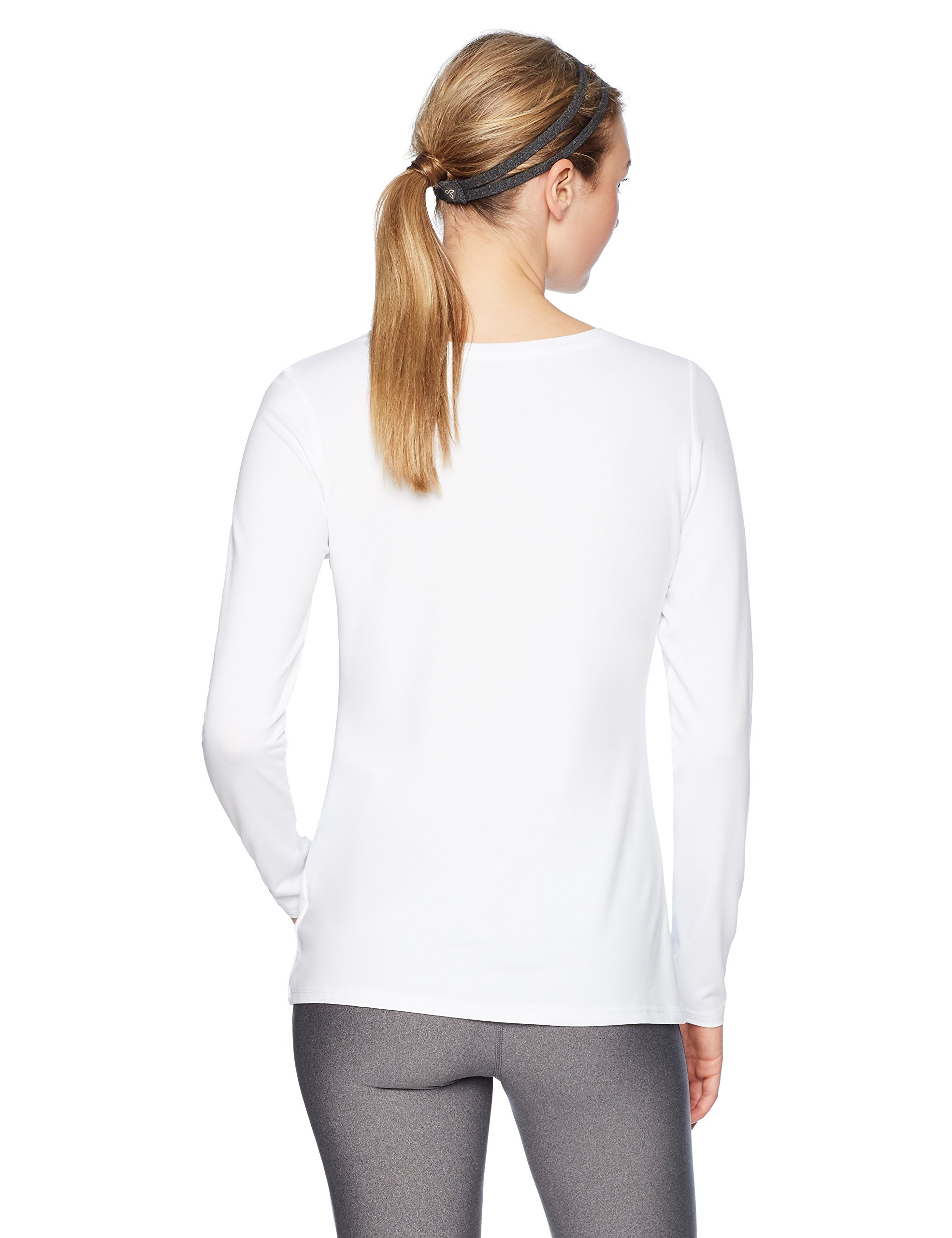 Amazon Essentials Women's Standard Tech Stretch Long-Sleeve T-Shirt, White, Large by Amazon Essentials (Image #3)