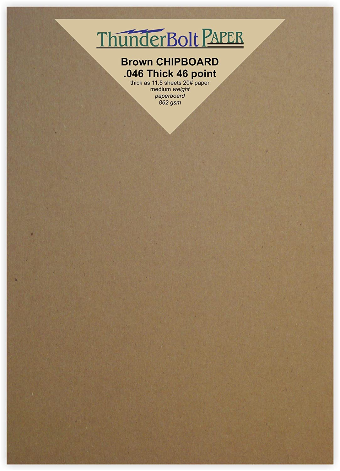 50 Sheets Chipboard 46pt (point) 5 X 7 Inches Heavy Weight Photo|Card Size .046 Caliper Thick Cardboard Craft and Packing Brown Kraft Paper Board TBP 4336978361