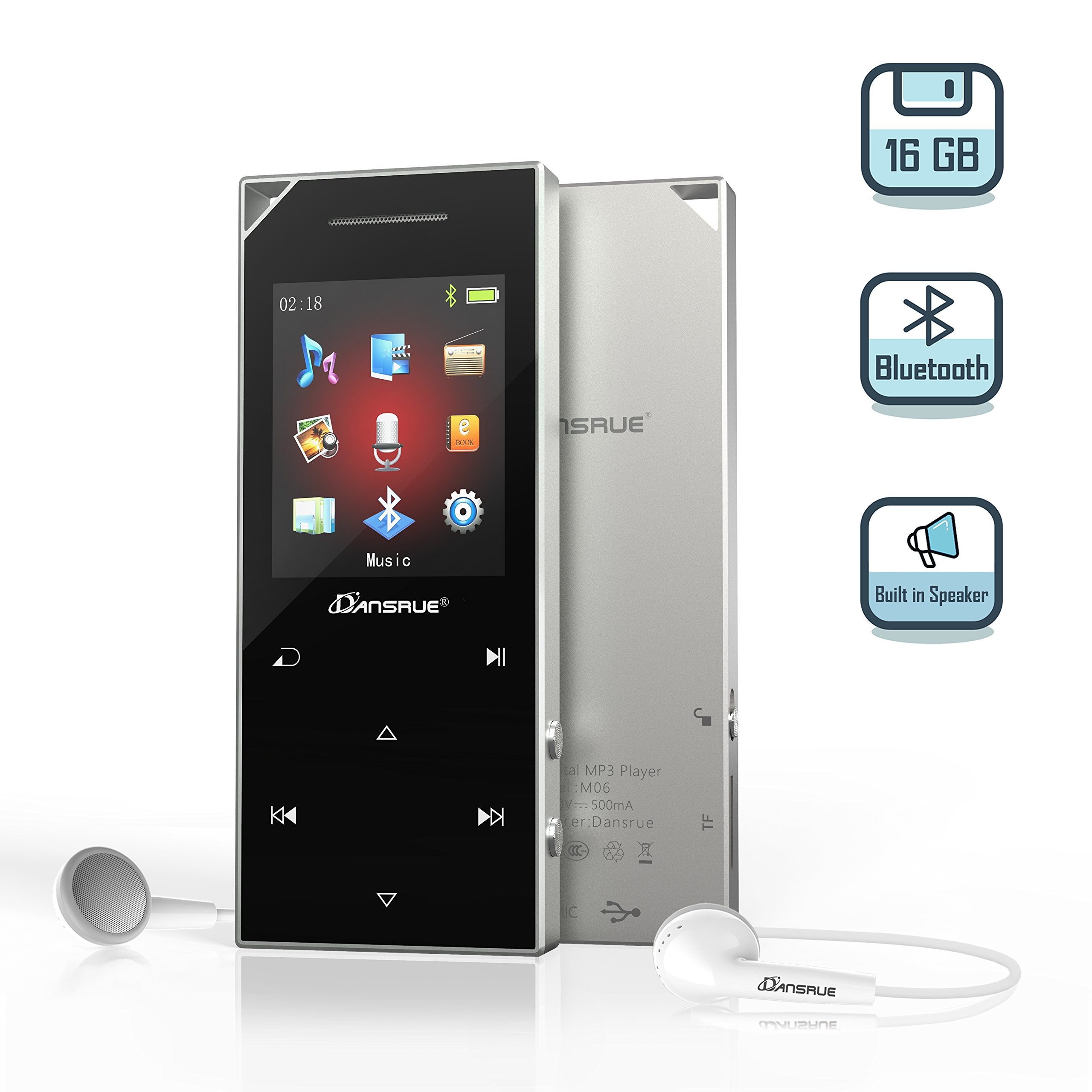 16GB Bluetooth 4.0 MP3 Player with Speaker, Dansrue Portable Lossless MP3 Music Player Metal Touch Button with FM Radio Voice Recorder,Support up to 128 GB, Black