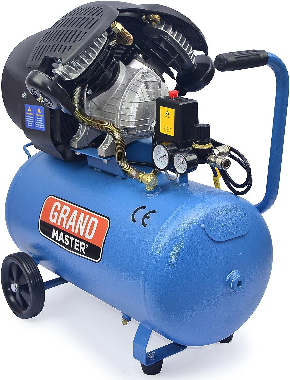 Grandmaster - Compresor de Aire 50 Litros 220V, Dos Cilindros 356L/min, 2200W/3cv, 8 Bares/118psi, Filtro de Aire, Velocidad 2850/min, Compresor Silencioso