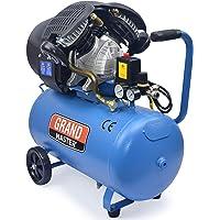 Grandmaster - Compresor de Aire 50 Litros 220V, Dos Cilindros 356L/min, 2200W/3cv, 8 Bares/118psi, Filtro de Aire…