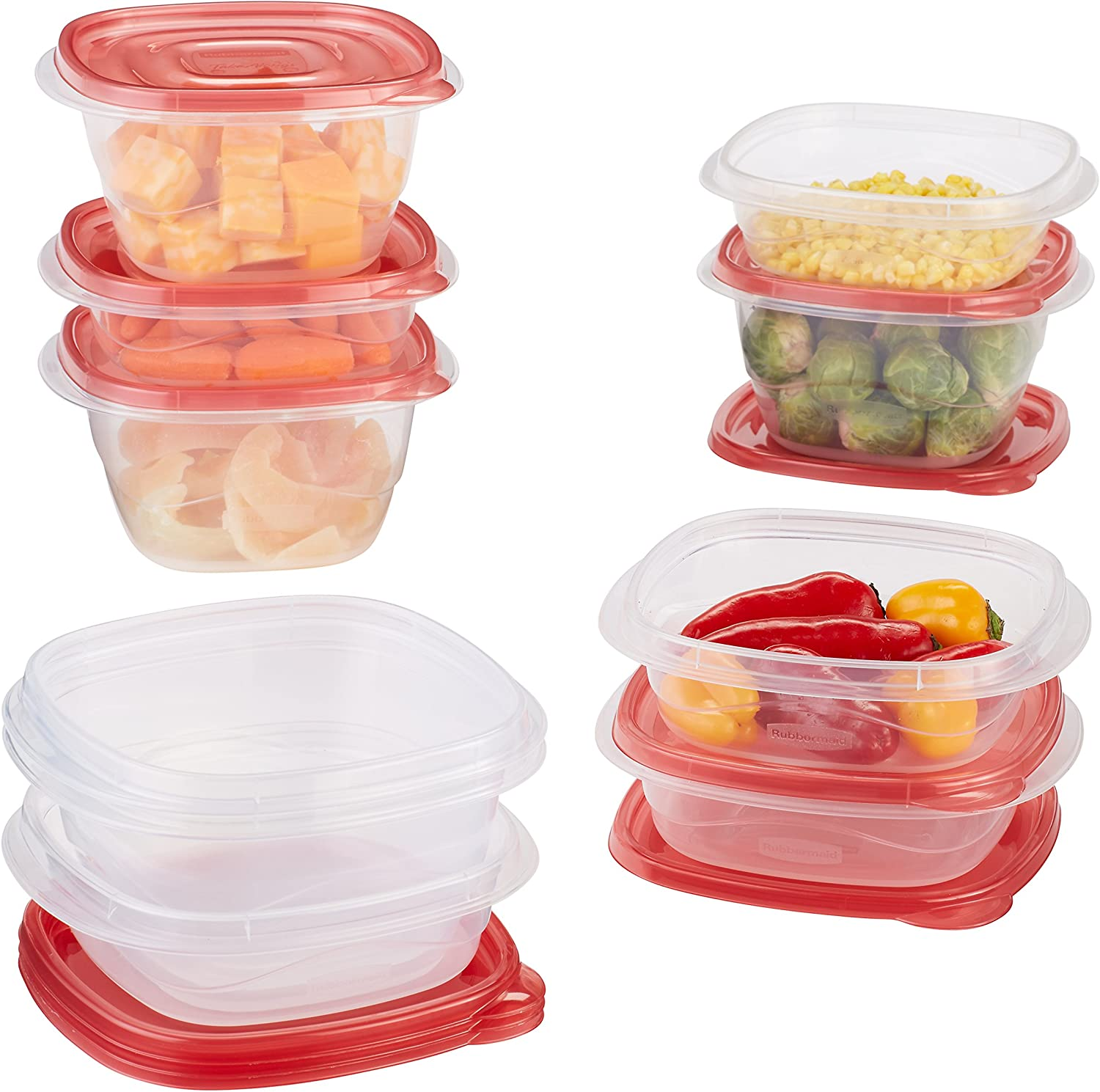 Rubbermaid TakeAlongs Assorted Food Storage Containers, 10-Piece Set, Chili Red (1779055)