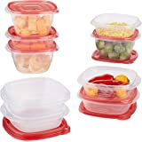 Rubbermaid TakeAlongs 5.2 and 2.9 Cup Food Storage Container, 10 Piece Set, Red/Tint Chilli