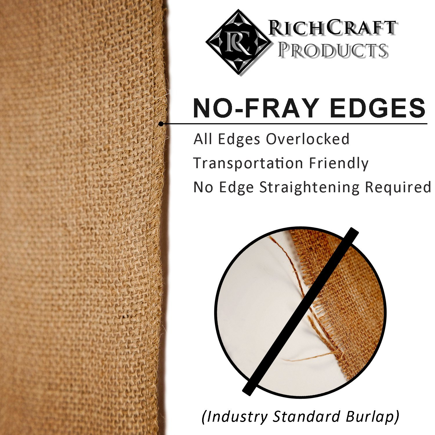 14'' x 50yd NO-FRAY NO-Mess Burlap Table Runner Roll ~ 14'' Wide x 50 Yards Long Table Runner Fabric w/Finished Edges. Perfect for Weddings, Placemat, Crafts. Decorate Without The Mess! by RC RICHCRAFT (Image #3)