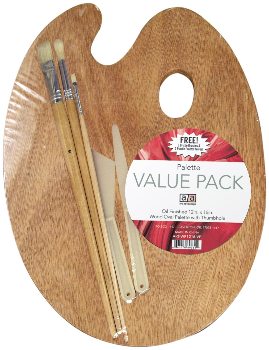 Art Advantage WP1216-VP Wood Palette Value-Pack With Free Brushes and Knives