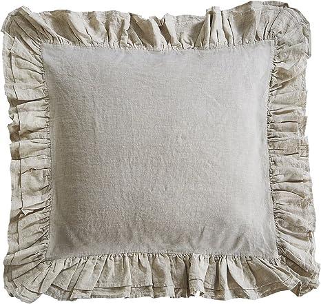 Amazon Com Pure Flax Linen Euro Sham With Ruffled Edge 1 Pair White Home Kitchen