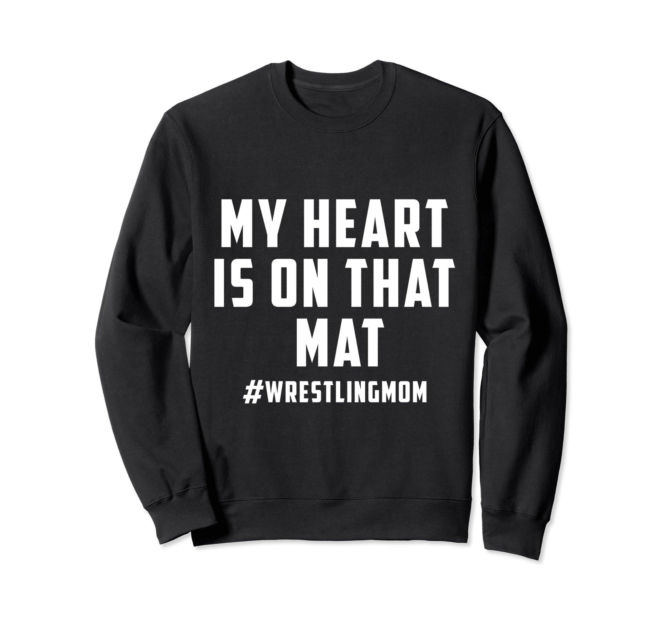 Unisex My Heart Is On That Mat Wrestling Mom Sweatshirt Small Black by My Heart Is On That Mat Sweatshirt