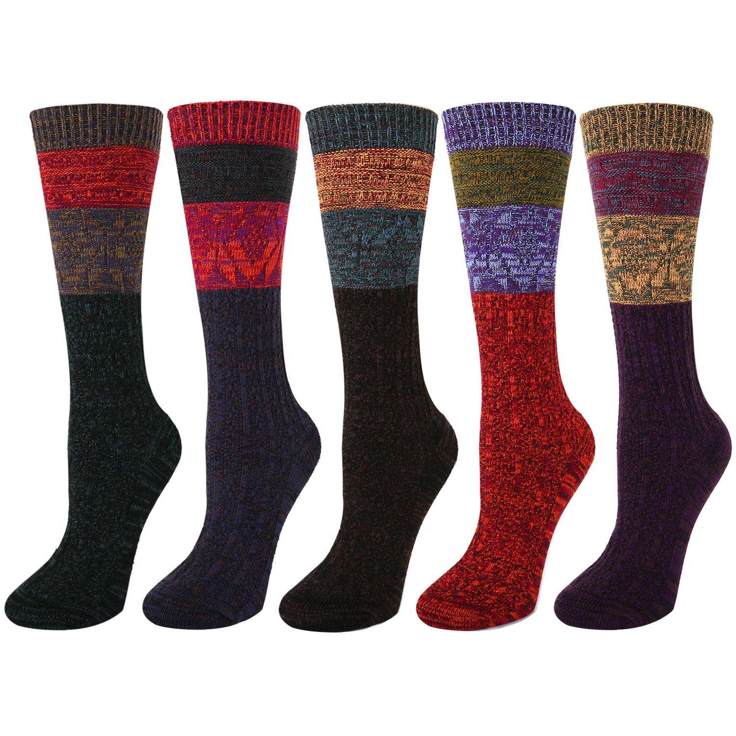 5 Pack Womens Soft Warm Thick Knit Wool Cozy Crew Socks Vintage Colorful Casual Fall Winter Quarter Socks