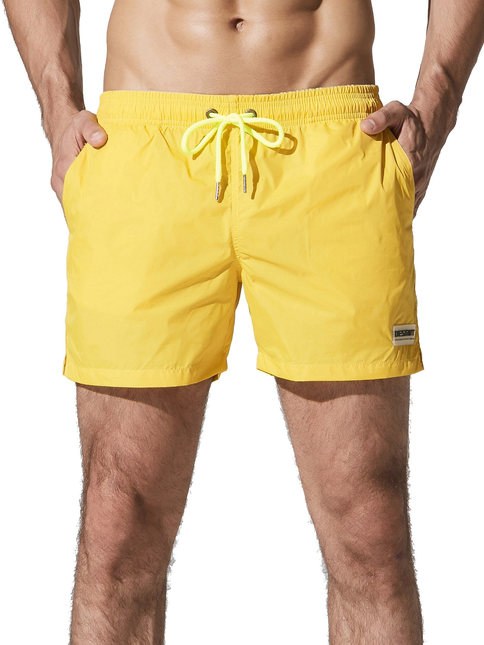 Neleus Men's Athletic Running Beach Shorts with Pockets,802,Yellow,M,Tag XL