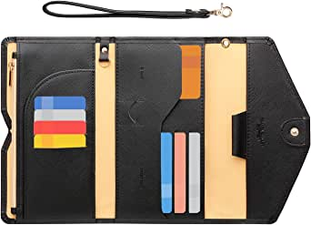 Zoppen Passport Holder Travel Wallet (Ver.5) for Women Rfid Blocking Multi-purpose Passport Cover Case Document Organizer Wrist Strap