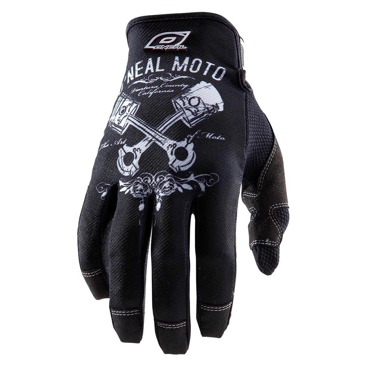 Black//White ONeal Pistons Jump Bike Gloves