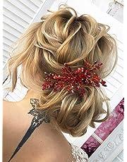 Kercisbeauty Wedding Hair Accessories for Brides Red Crystal Hair Comb Bridal Headpiece Women Party Headband Headpiece