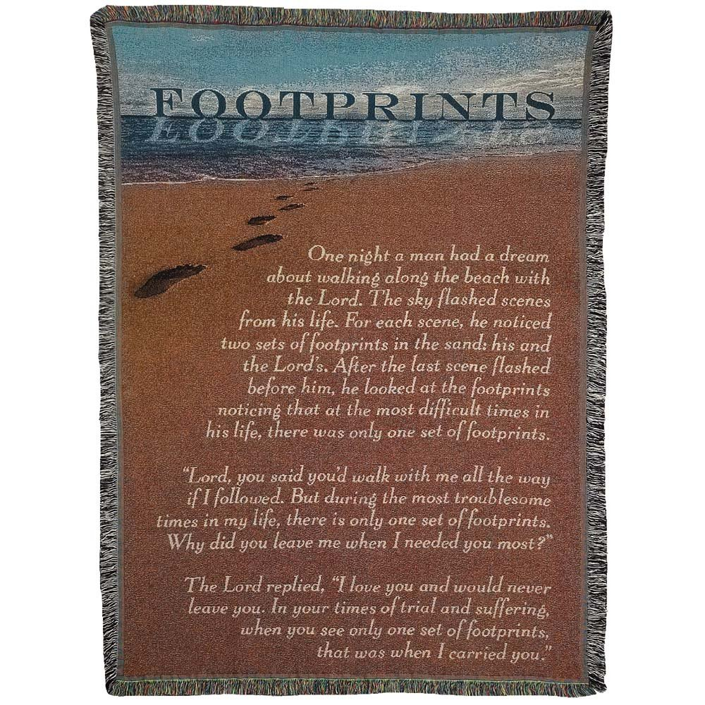 Footprints in the Sand Ocean Tide 52 x 68すべてコットンTapestry Throw Blanket B06ZZ3GQW7