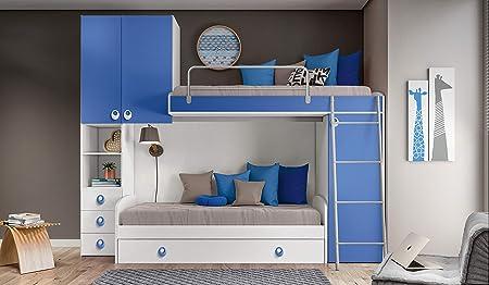 Letto A Castello Con Armadio Incorporato.Inhouse Srls Camera A Ponte Color Bianco Frassinato E Blu Con Due