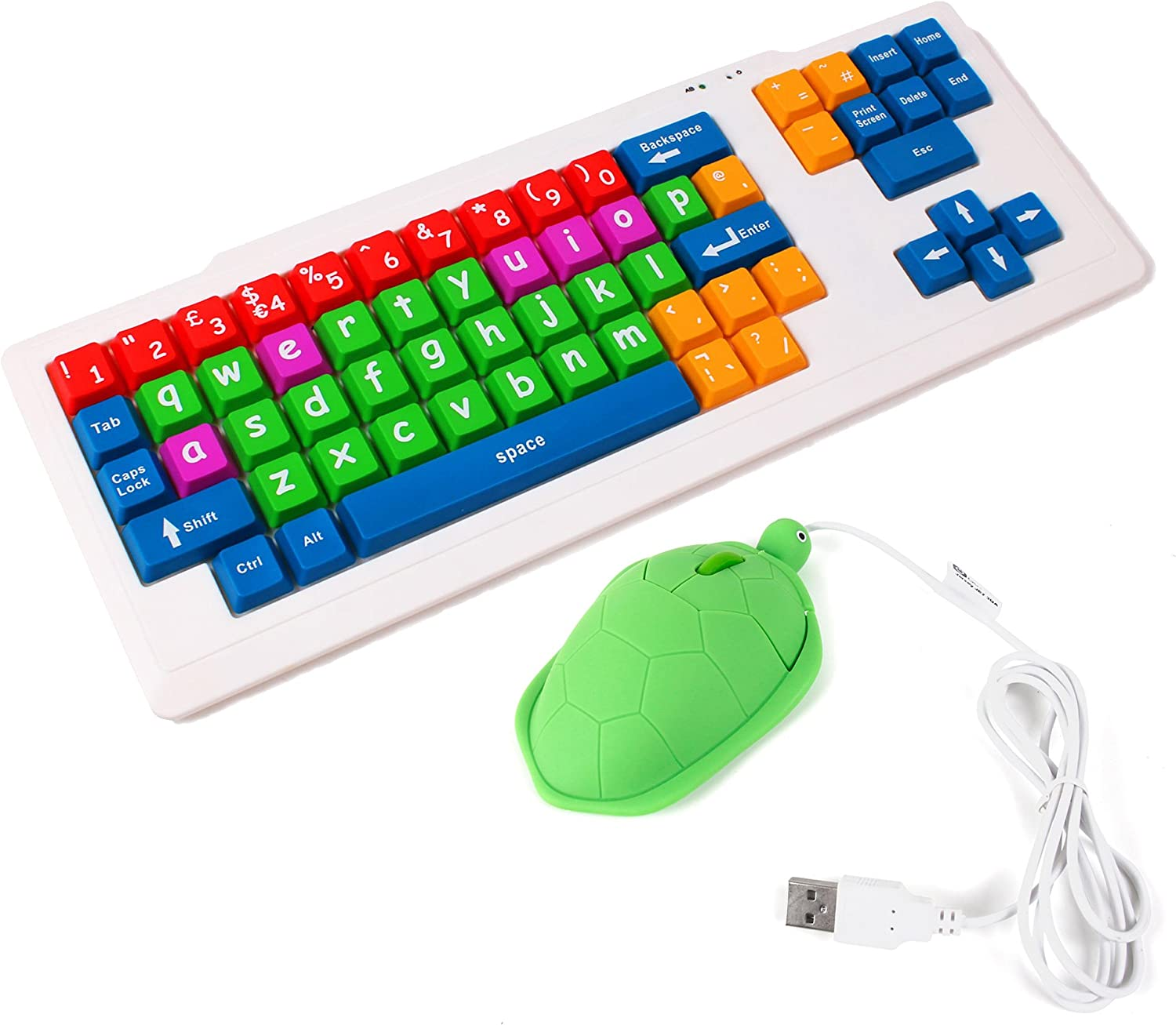 DURAGADGET Large Colourful Childrens/Special Needs/Sight impaired PC Keyboard PS2/USB - Great for Teaching/Learning at Home + Fun Turtle Shaped Mouse! (Dimensions: 470 x 180 x 15mm)