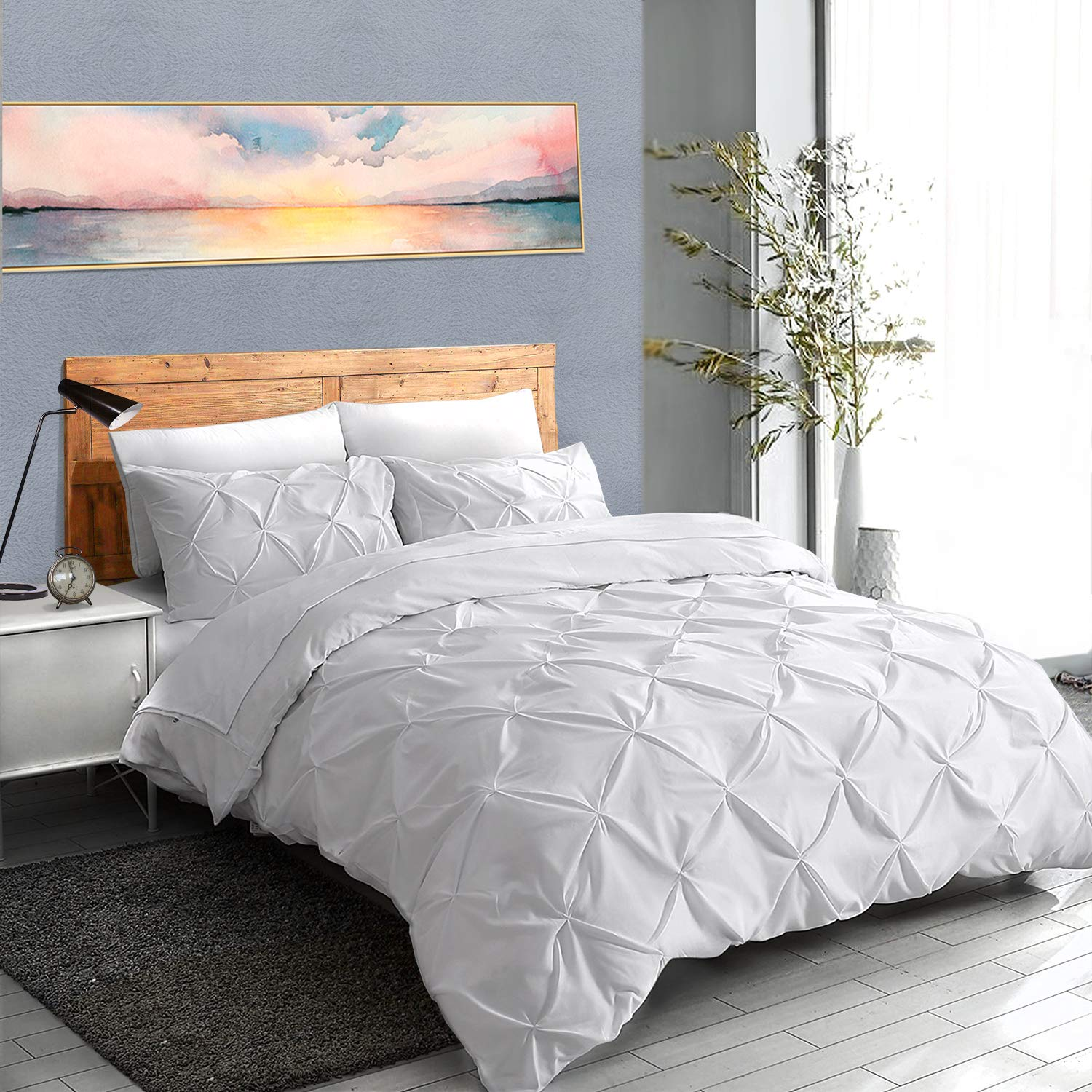 ASHLEYRIVER 3 Piece Luxurious Pinch Pleated Duvet Cover with Zipper & Corner Ties 100% 120 g Microfiber Pintuck Duvet Cover Set(Queen White) by ASHLEYRIVER (Image #7)