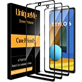[3 Pack] UniqueMe Screen Protector Compatible for LG Stylo 6 Tempered Glass [Full Coverage] Edge to Edge Protection [Case Fri
