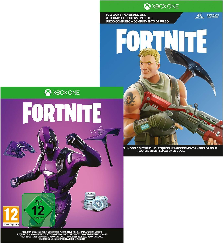 Microsoft Xbox One S - Consola de 1 TB, Degradado Morado + 1 Mando Morado, 1 Mes de: Xbox Live Gold (Digital) + Game Pass (Digital) + Fortnite Con Skin Dark Vexter + 2000 V-Bucks: Microsoft: Amazon.es: Videojuegos