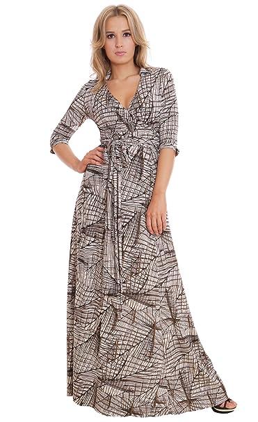 MontyQ Elegante dama Maxi vestido de fiesta estilo Vintage Wrap diseño