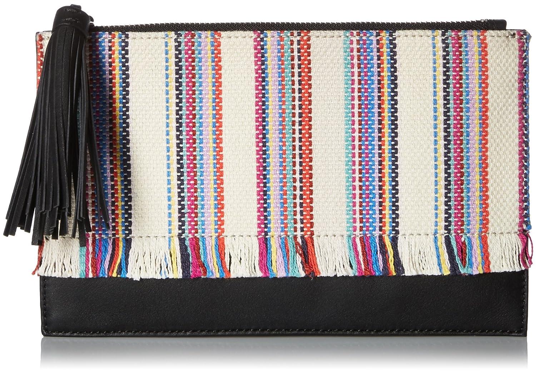 LOEFFLER RANDALL Flat Pouch (Woven Textile/Nappa Tassel) Multi Stripe/Black FLTPOUCH-WVN