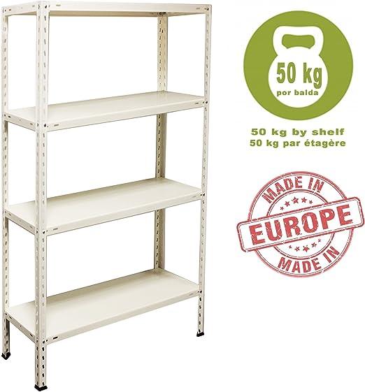 NAWA Kit Estantería Metálica 150 x 75 x 30 cm (Blanca): Amazon.es: Hogar