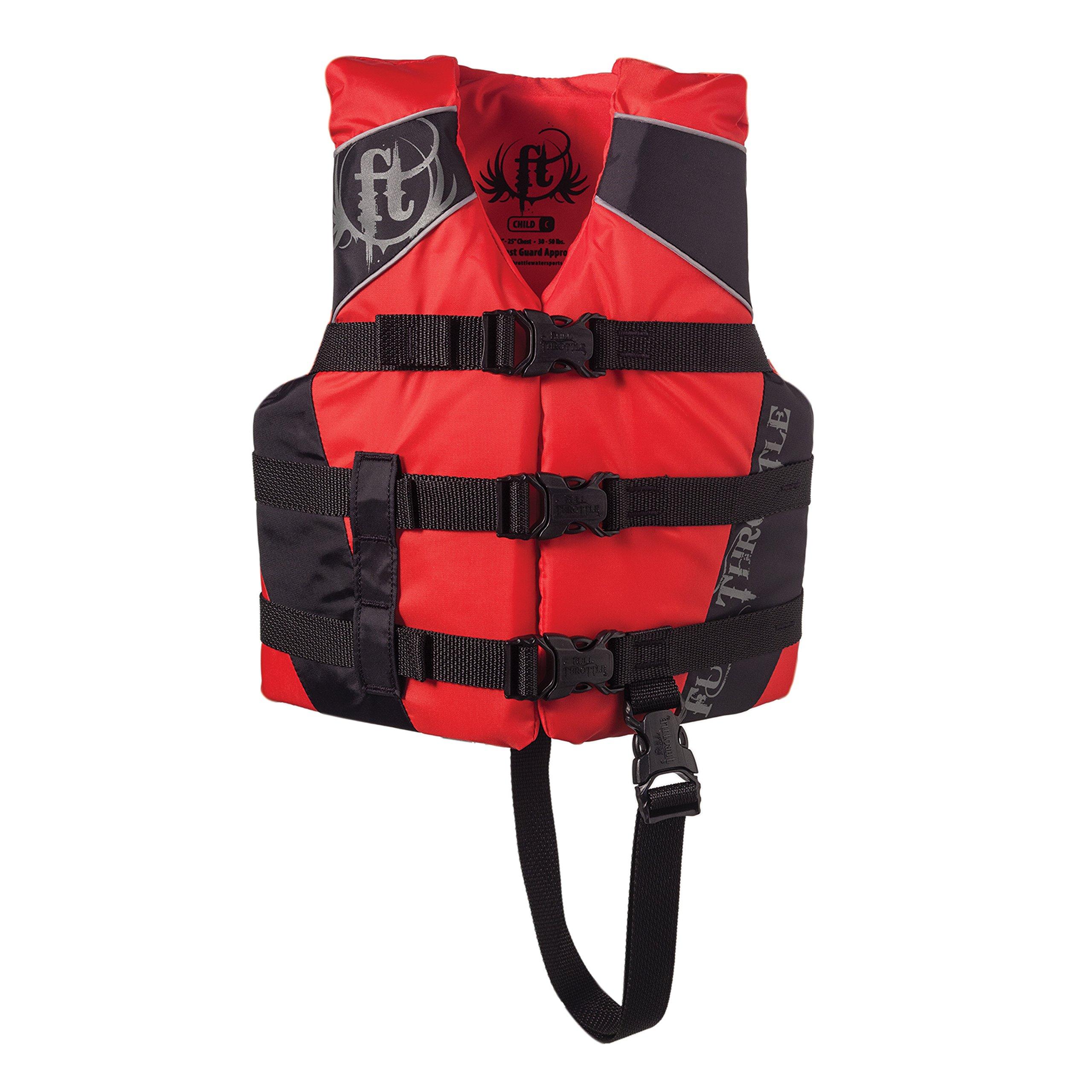 Full Throttle Child Nylon Watersports Vest - Red/Black