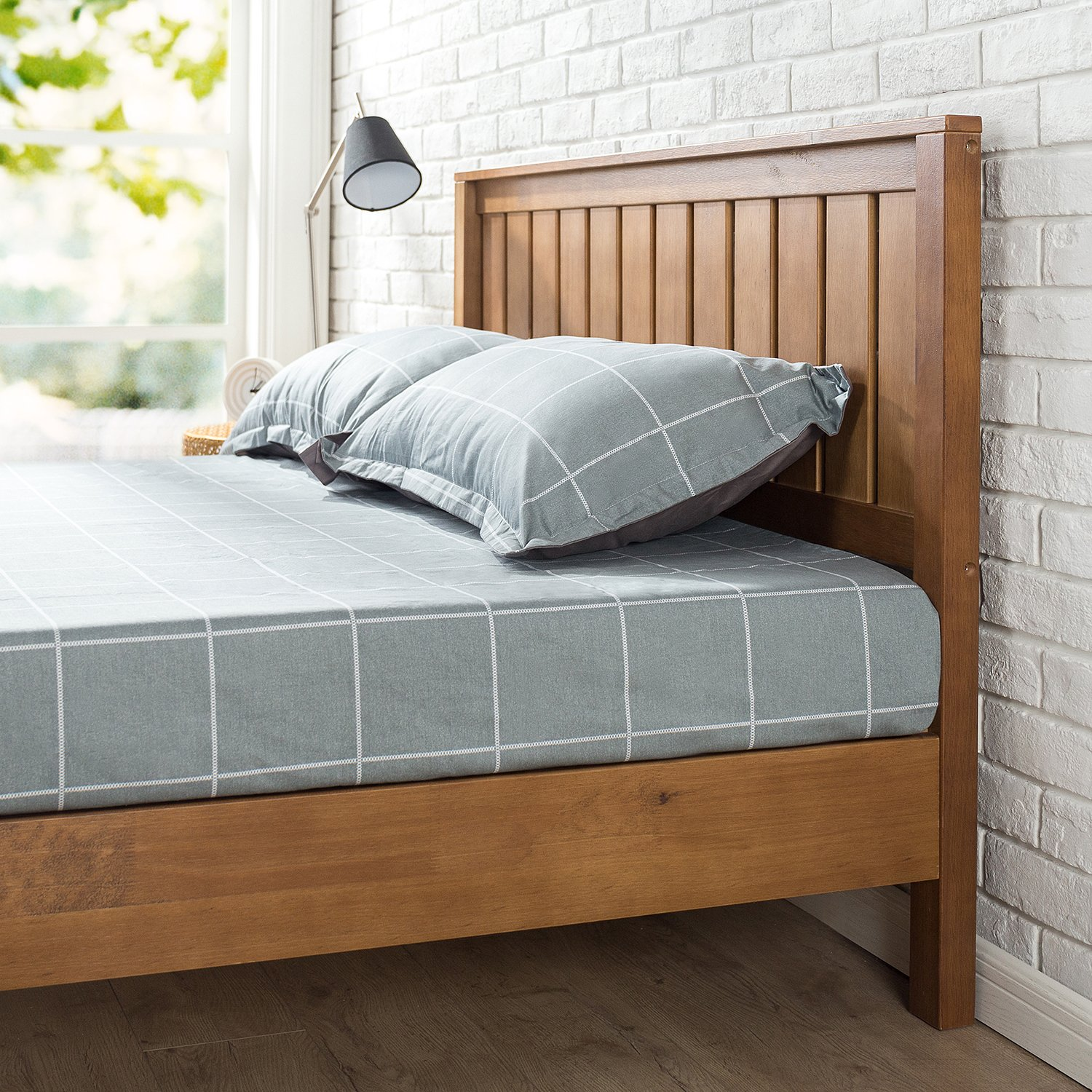 Zinus 12 Inch Deluxe Wood Platform Bed with Headboard / No Box Spring Needed / Wood Slat Support / Rustic Pine Finish, Twin by Zinus (Image #4)