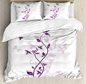 Ambesonne Purple Duvet Cover Set, Violet Tree Swirling Persian Lilac Blooms with Butterfly Ornamental Plant Graphic, Decorative 3 Piece Bedding Set with 2 Pillow Shams, Queen Size, Purple White