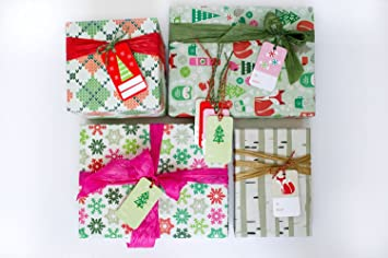 christmas family fun value gift wrap set reindeer birch trees eco