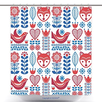 Amazon.com: Funky Shower Curtains Scandinavian Seamless Folk Art ...