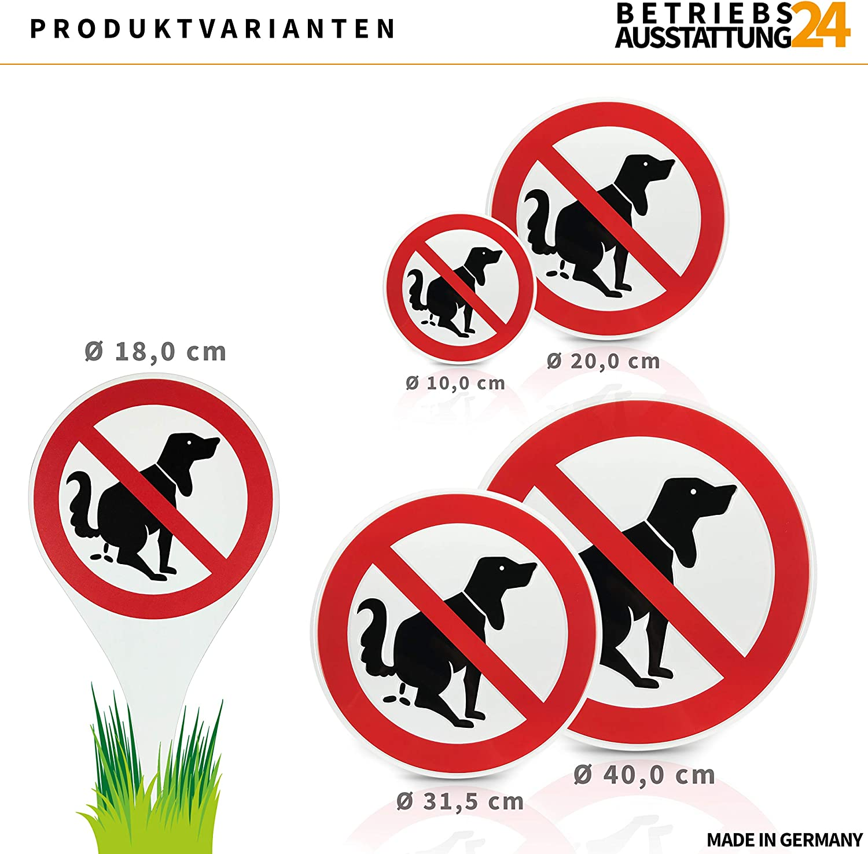 Alu-Dibond Hinweisschild 18,0 /Ø x 33,5 cm Betriebsausstattung24 Erdspie/ß Verbotszeichen Hier kein Hundeklo Wetterfestes Schild Hundekot