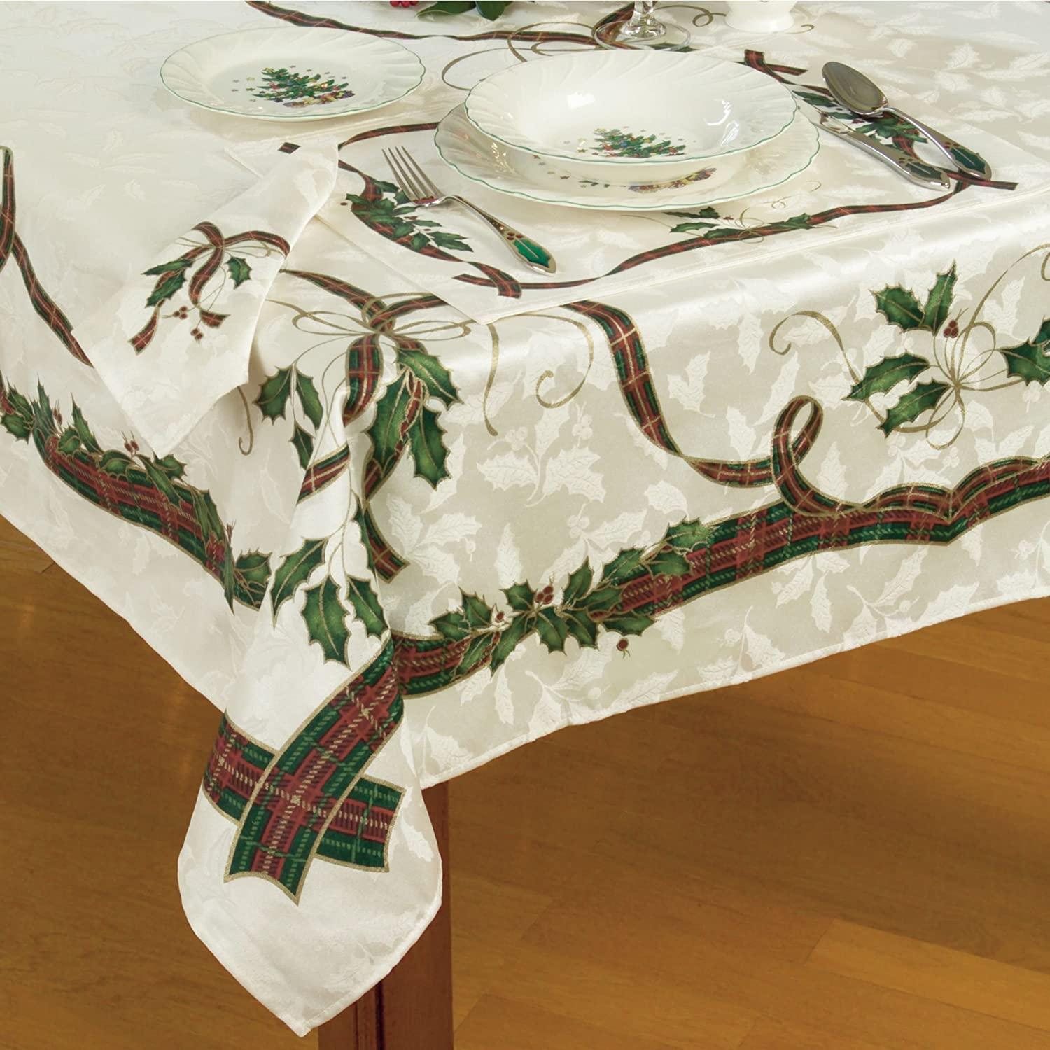 Amazon.com Lenox Holiday Nouveau Christmas Tablecloth ~ 60 x 84\  Oblong Rectangular Home \u0026 Kitchen : christmas table linen set - pezcame.com