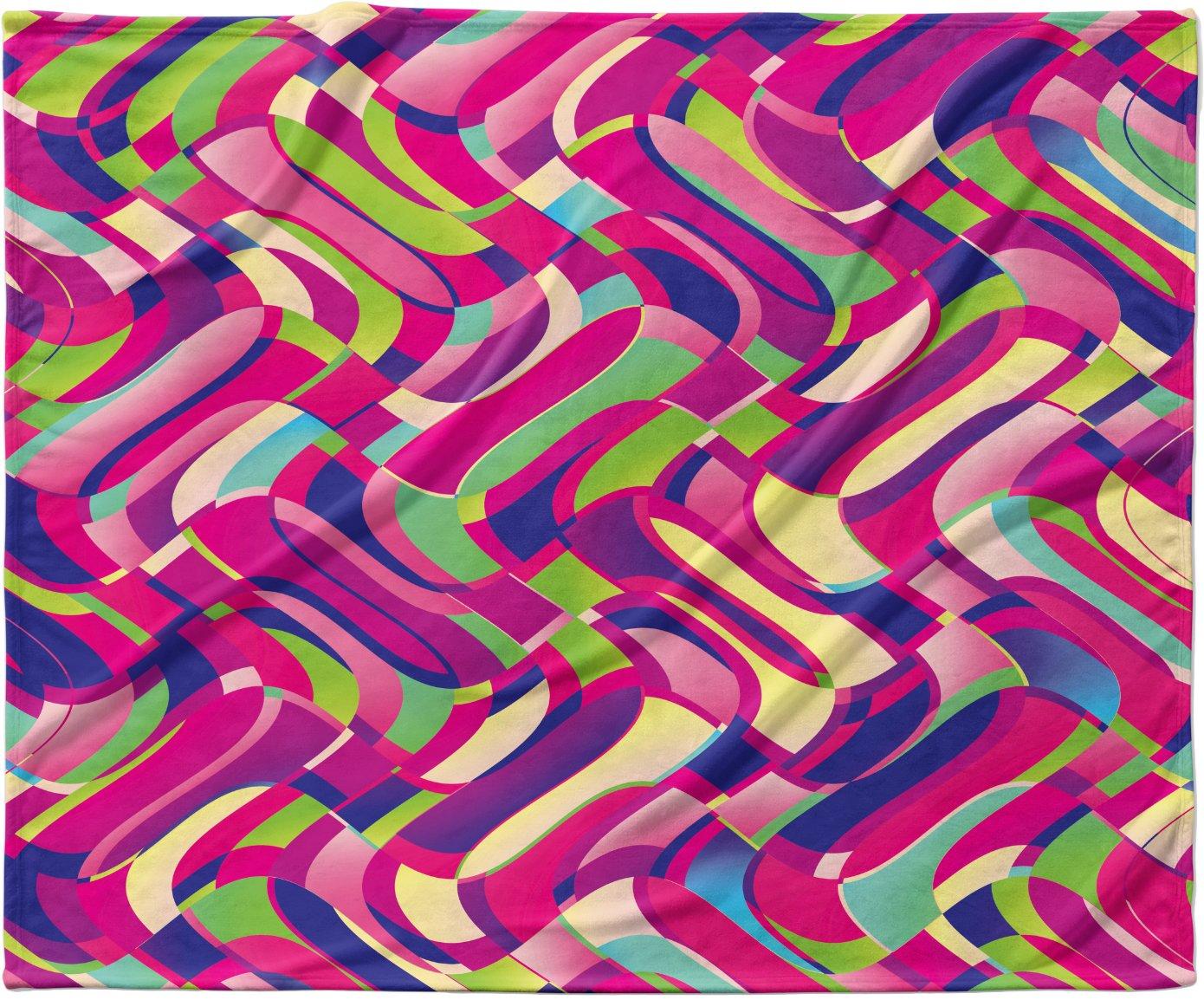 40 x 30 KESS InHouse Dawid Roc Colorful Movement Pink Abstract Fleece Baby Blanket