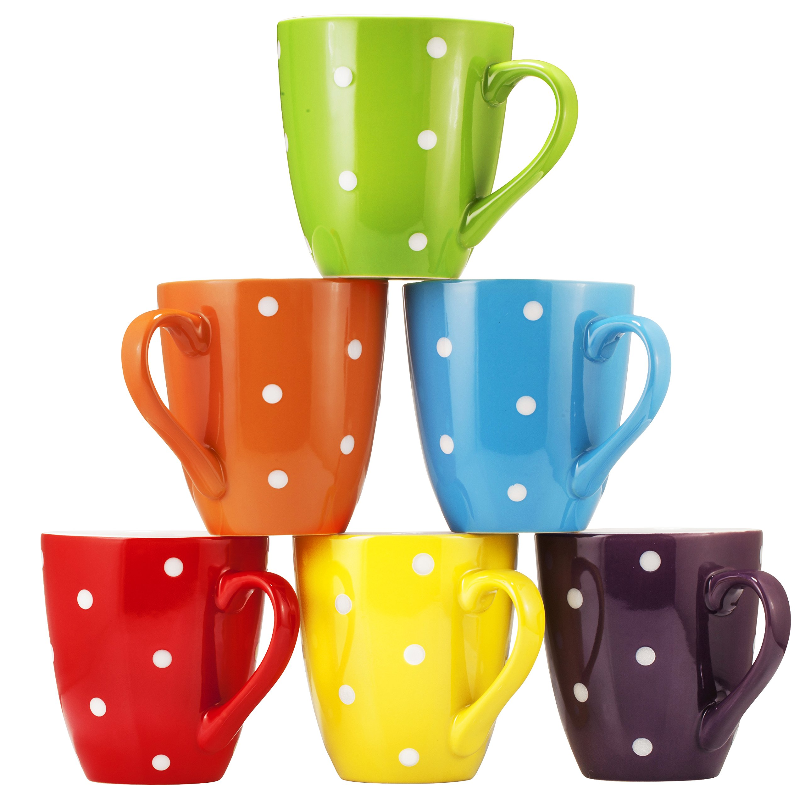 Coffee Mug Set Set of 6 Large-sized 16 Ounce Ceramic Coffee Mugs Restaurant Coffee Mugs By Bruntmor (Polka Dot) by Bruntmor (Image #4)