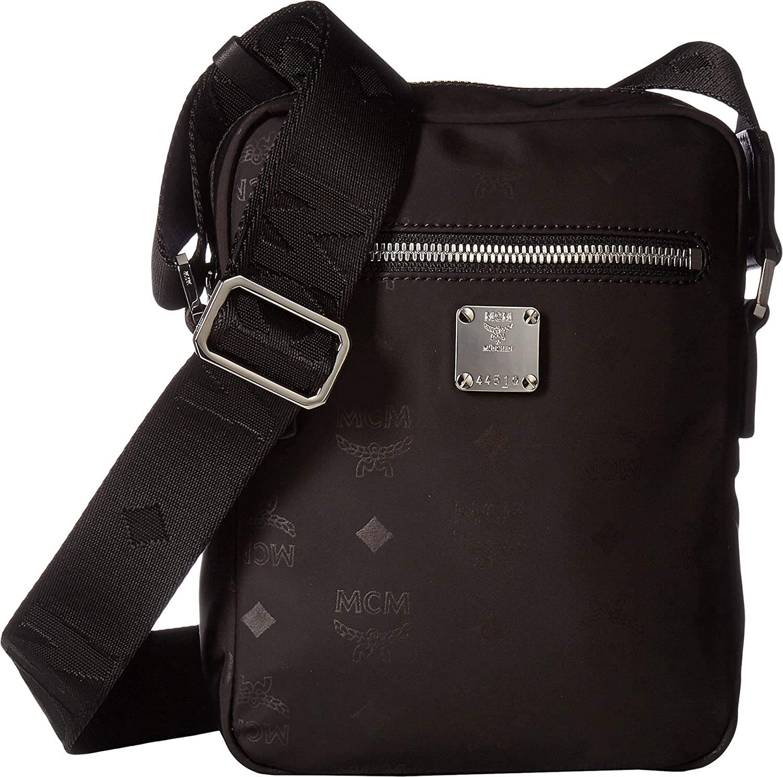 3f4d7fdbd9b8 Amazon.com: MCM Mens Dieter Monogrammed Nylon Crossbody Mini Black One  Size: Clothing