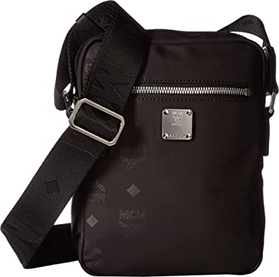 81749949c Amazon.com: MCM Mens Dieter Monogrammed Nylon Crossbody Mini Black One  Size: Clothing