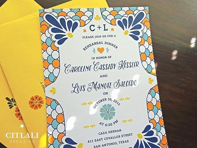 talavera rehearsal dinner invitation set of 10 spanish tile latin bridal shower destination wedding theme
