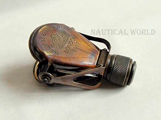 "5/"" NAUTICAL ANTIQUE BRASS BINOCULAR MONOCULAR SPYGLASS KELVIN /& HUGHES 1917"