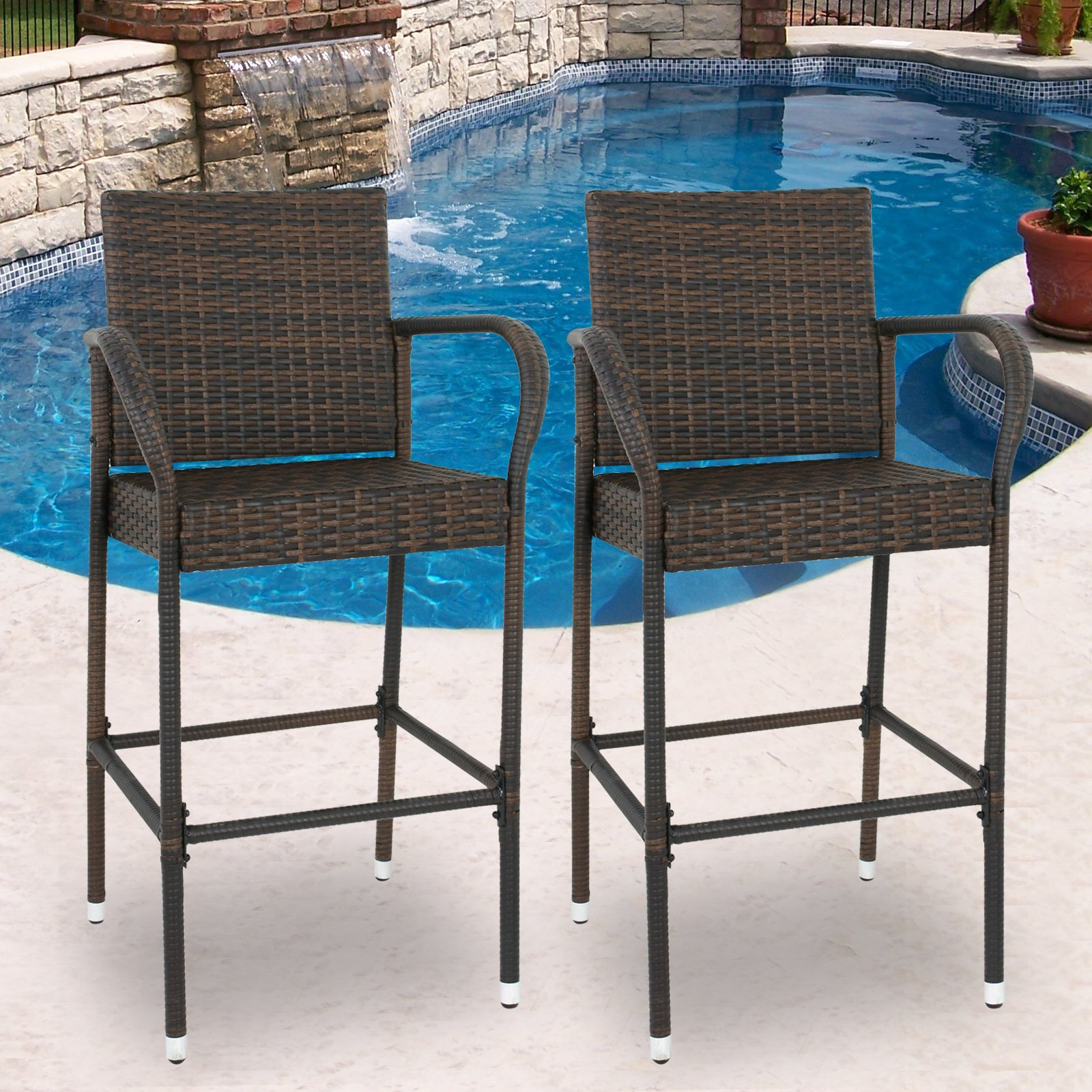 SUPER DEAL Wicker Bar Stool Outdoor Backyard Rattan Chair Patio Furniture Chair w/Iron Frame, Armrest and Footrest, Set of 2