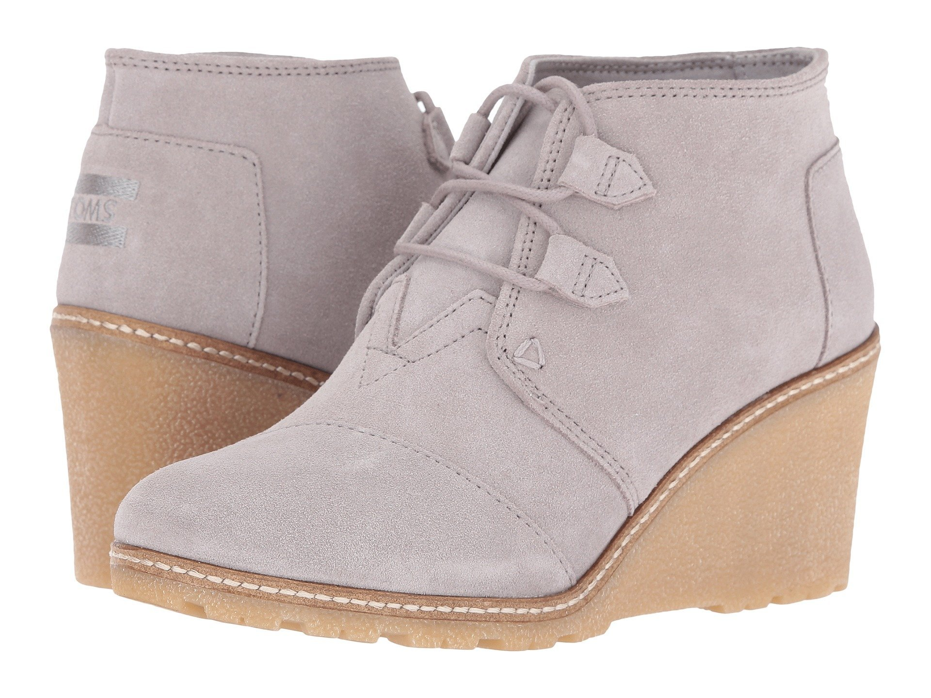 80bf475bd6b TOMS Women s Desert Wedge Wheat Suede Shearling Faux Crepe Wedge Boot (11  B(M) US