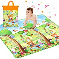 Gymfy Keekos Waterproof Double Side Baby Crawl Floor Mat with Zip Bag to Carry for Kids Picnic Play School Home (6.5X 5 ft, Multicolour)