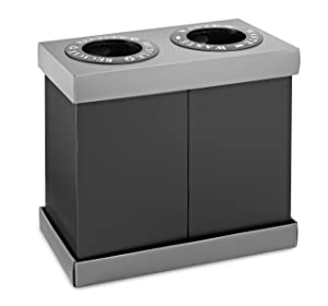 Alpine Industries Double Recycling Center - Heavy Duty Plastic Recycle Trash Bin - Two 28 Gallon Bins - Ideal for Offices, Restaurants, Hospitals, Schools, Cafeterias - 56 Gallons Total Capacity (2 Bins)