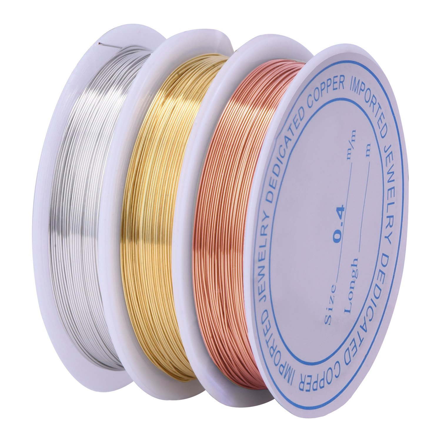 3 Pieces 0.4 mm Tarnish Resistant Bare Copper Wire Jewelry Beading Wire Roll for Crafts Beading Jewelry Making eBoot