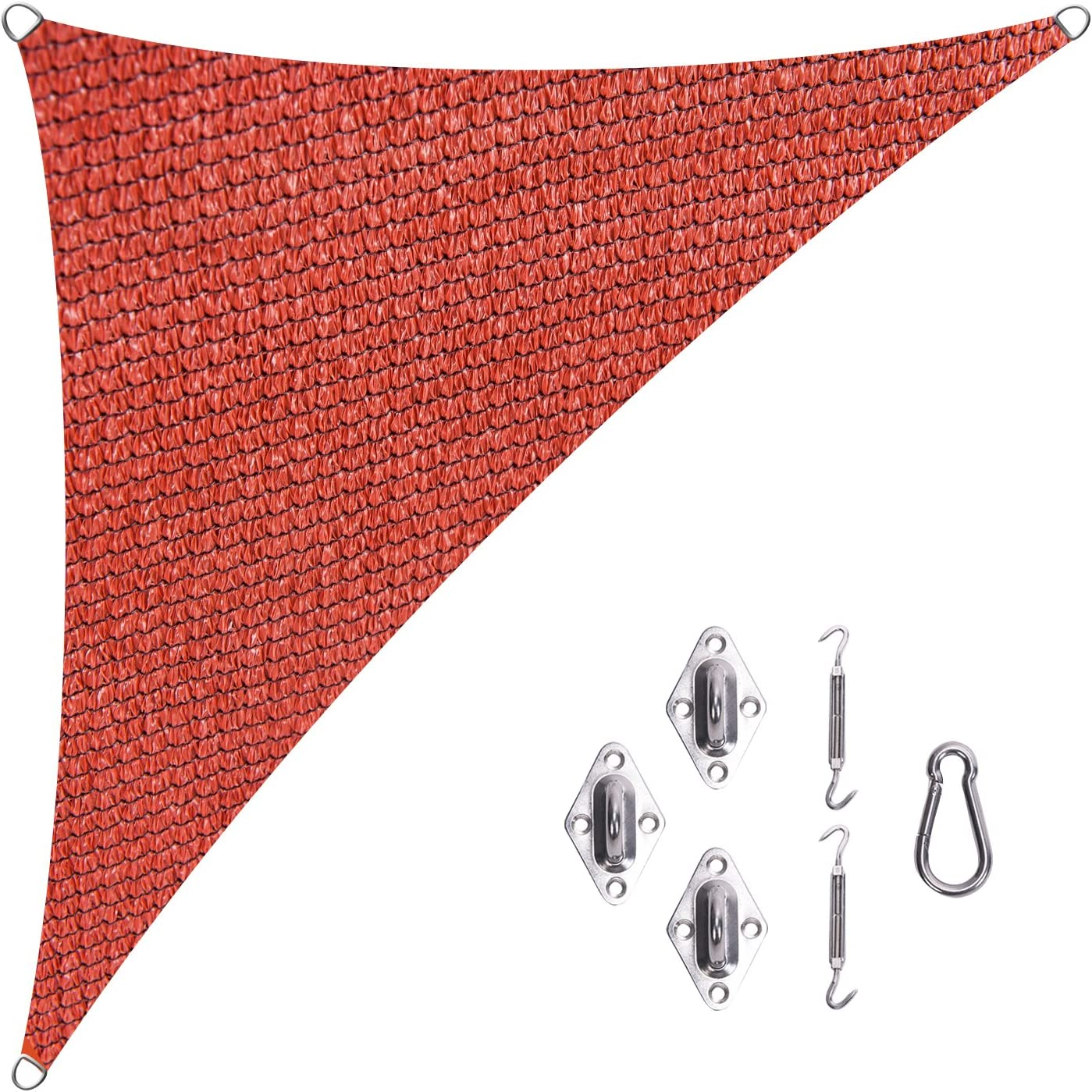 Cool Area Right Triangle 16 5 x 16 5 x 22 11 Sun Shade Sail with Stainless Steel Hardware Kit for Patio in Color Terra