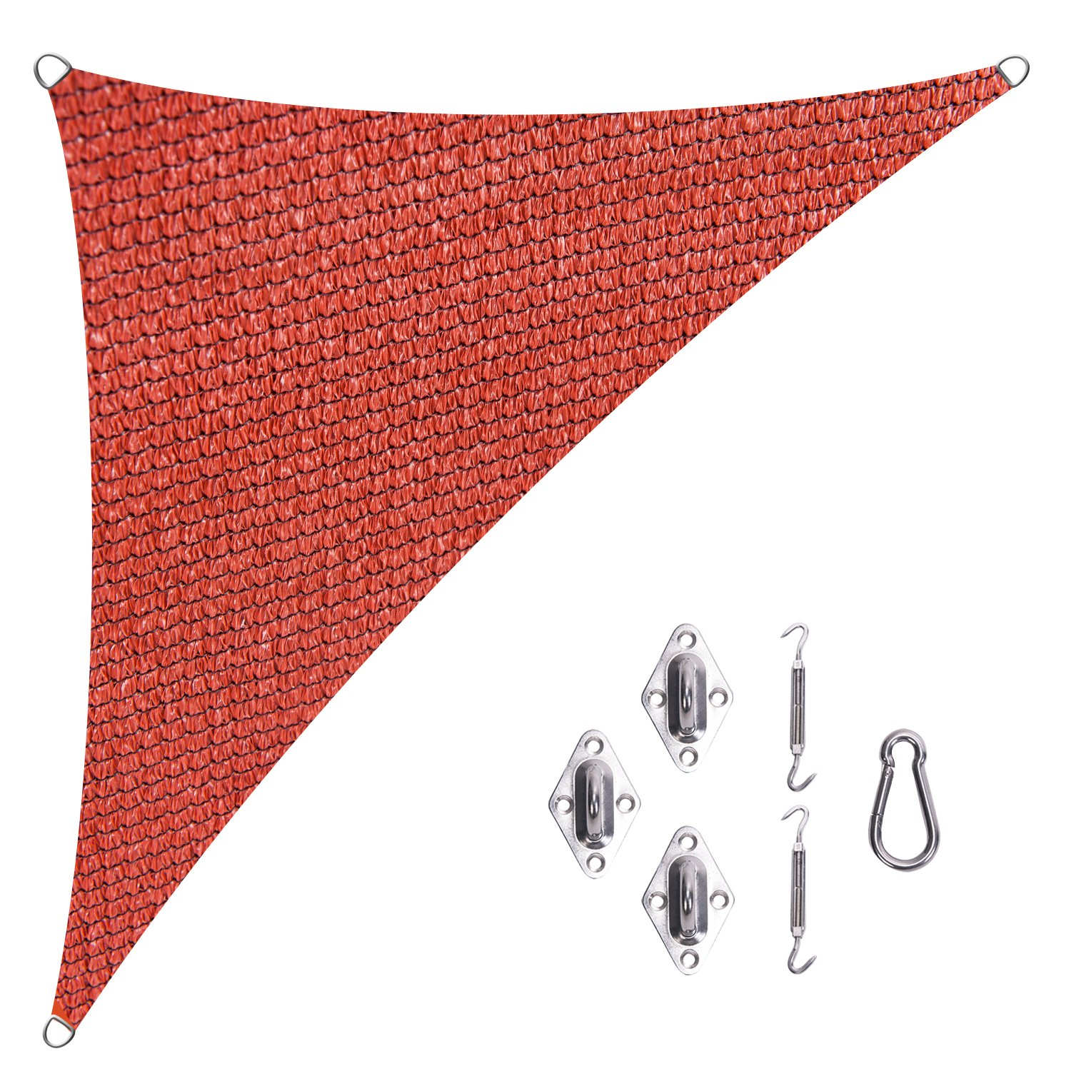 Cool Area Right Triangle 16'5'' X 16'5'' X 22'11'' Sun Shade Sail with Stainless Steel Hardware Kit, UV Block Fabric Patio Patio Shade Sail in Color Terra
