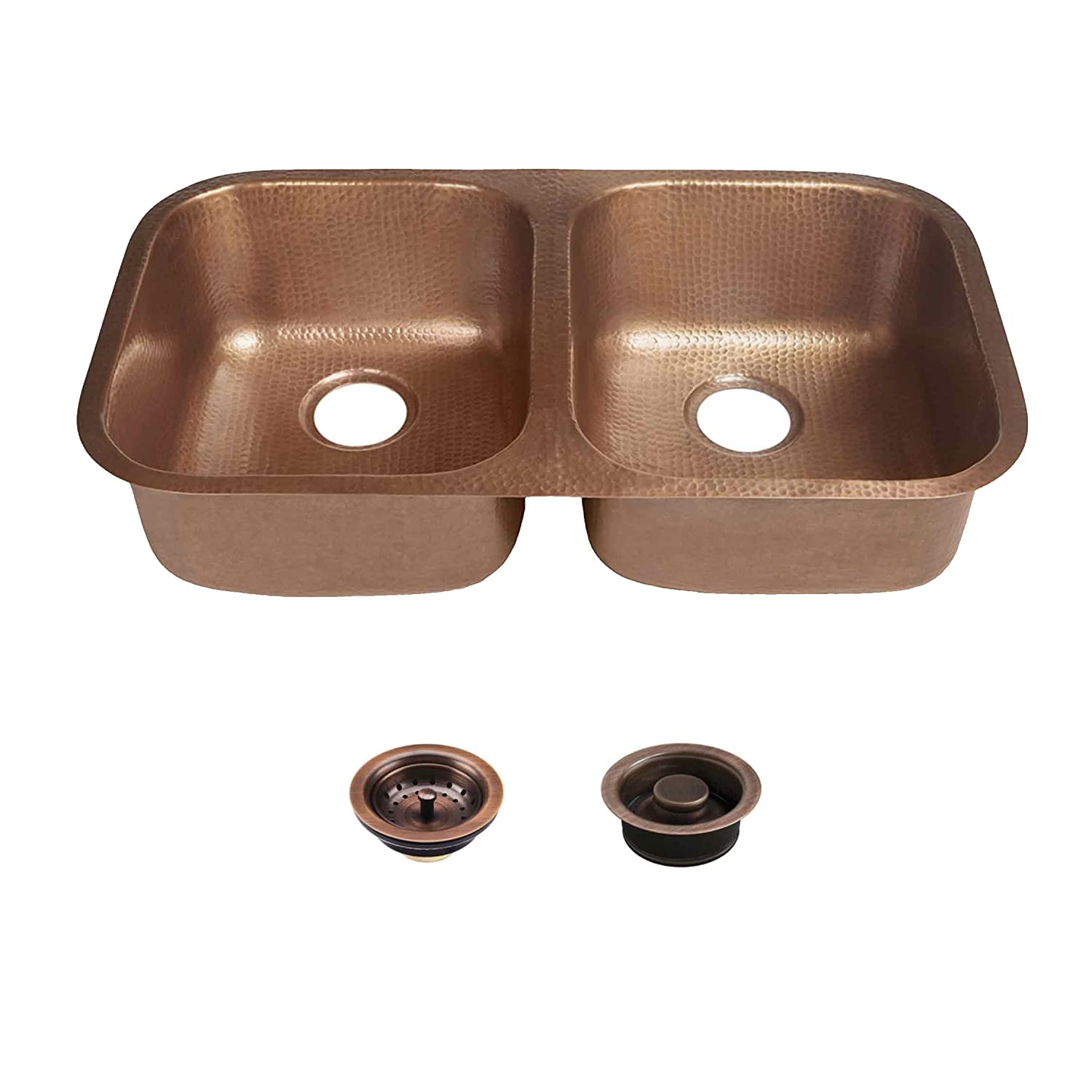 "Sinkology SK205-32AC-AMZ-BD Kandinsky Copper Undermount Kitchen Sink Kit with Strainer Drain and Disposal Flange 32.25"" x 18.5"" x 8"" Antique"
